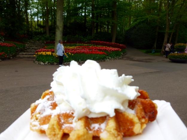 A waffle at Keukenhof Gardens