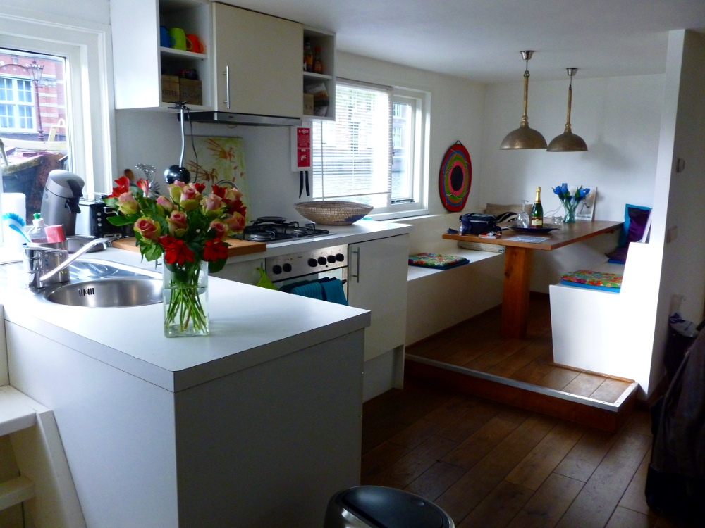 Houseboat kitchen and dining room