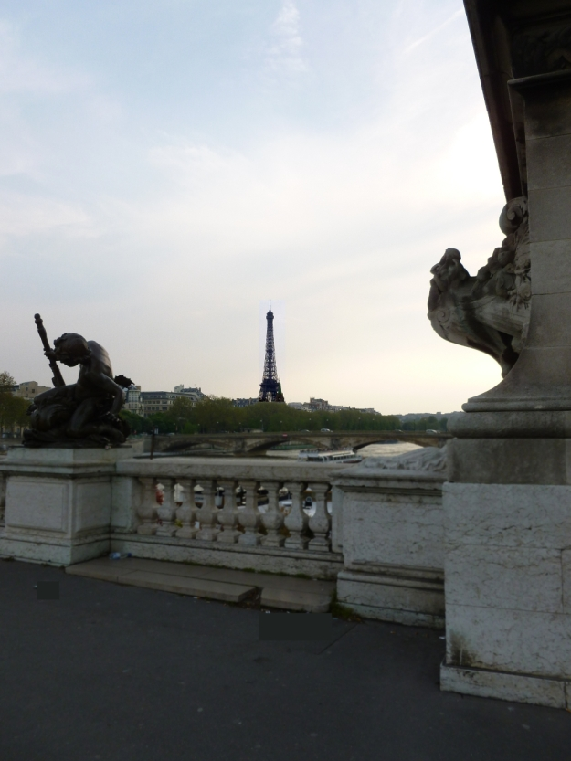 Pont Alexandre III with Eiffel and no litter blurred foreground