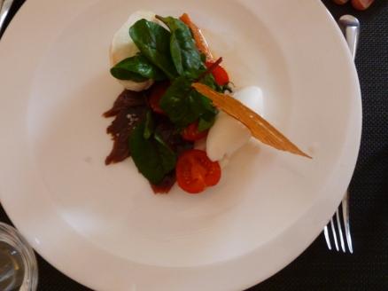 Tomato jam mozzarella bonito and basil sorbet