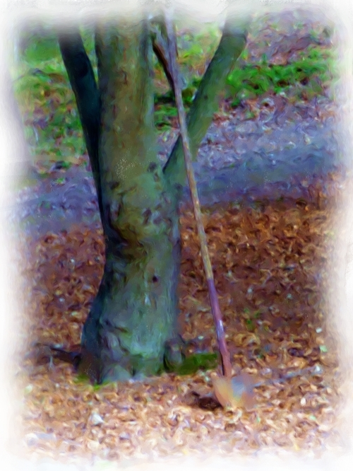 A shovel for digging telephone pole holes_Painting