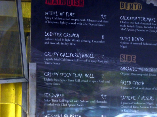 Sushi truck menu