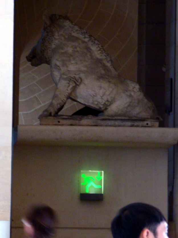 A boar atop the door