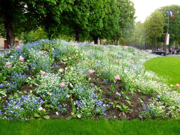 Flowers at start of the Avenues des Champs-Elysees