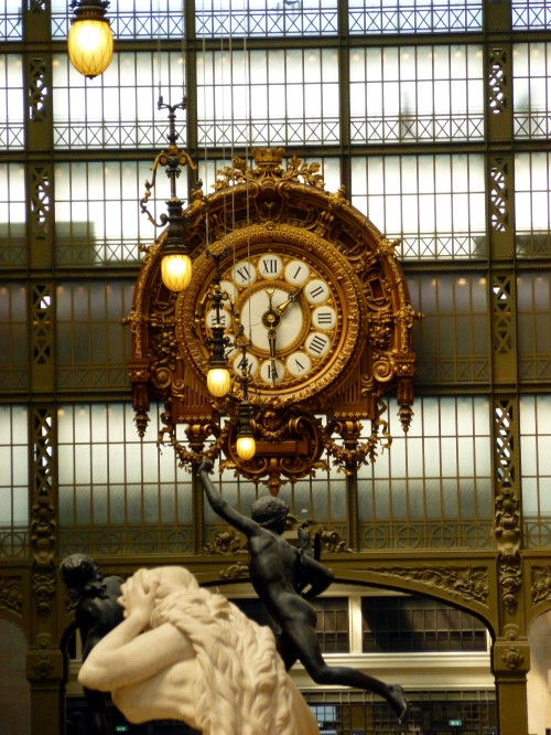 The clock inside the D'Orsay Museum, preserved from its days as a train station.