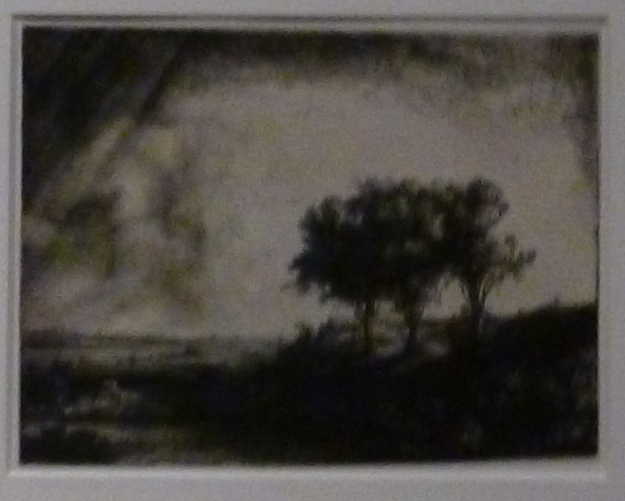 The Three Trees Rembrandt Harmensz van Rijn  etching drypoint, burin, 1643 This is the largest landscape that Rembrandt ever etched and the ost painterly in execution. The low-ying sun, which shines from the right, enhances the dramatic effect, just like the storm dissipating at the the left. The location is unclear, but may be somewhere along the Zuiderzee.