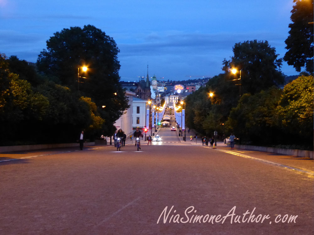 Looking back down Karl Johans Gate from the Royal palace