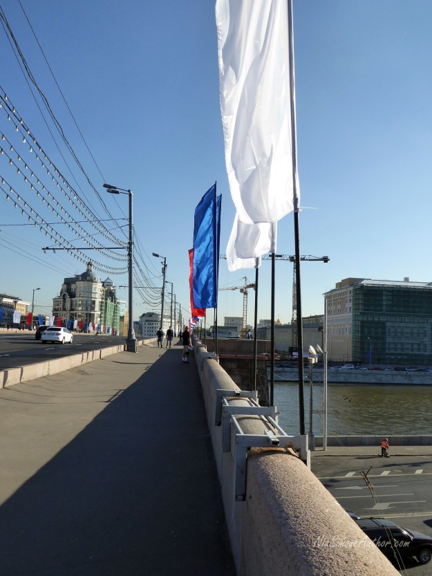 Lots of flags on the bridges around Red Square