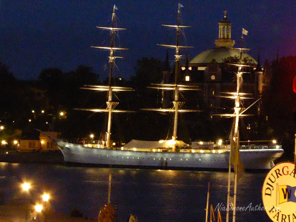I was so enamored by this boat, which was moored by Skeppsholmen Island, where we were staying!  But later I learned it was a party boat when it's loud music thumped for several hours...Only on Friday and Saturday, though, but one couldn't escape the deep bass thumping.