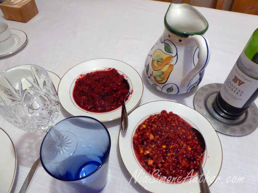 Fresh Cranberry Relish, on with oranges, one with ginger and lemon zest