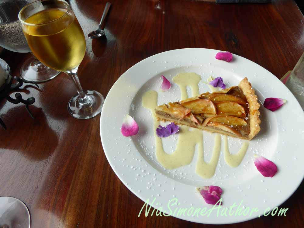 A dessert tart with the recommended dessert wine at Wild Fish.