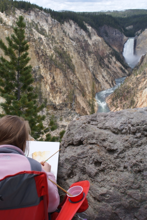 Artist at Artist's Point Yellowstone