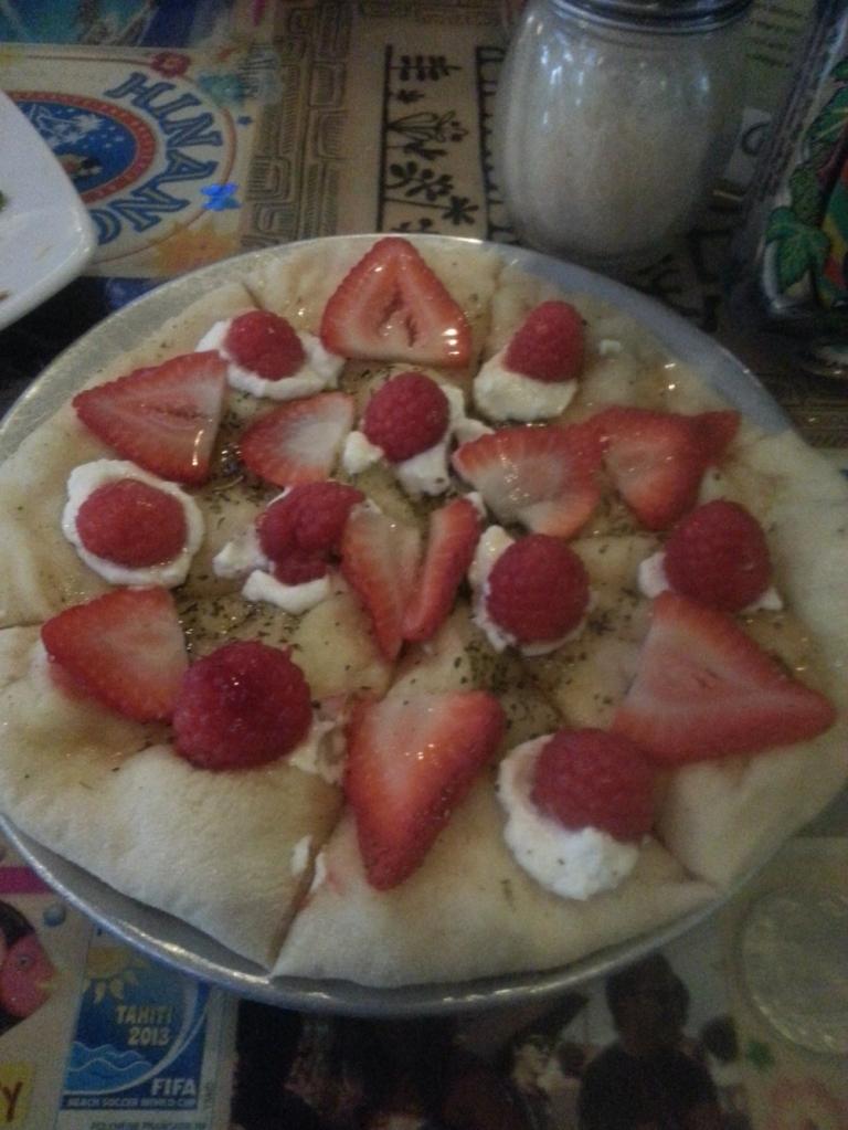 Fruit pizza at Caldera Brewery, Ashland