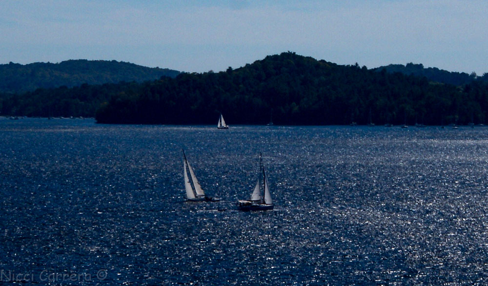 Sail boats on Lake Champlain