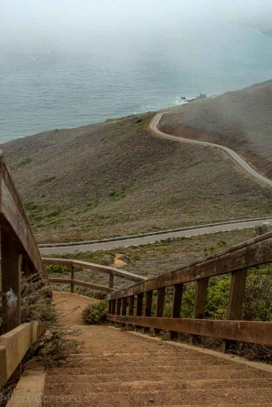 Looking down on a road from the Marin Headlands