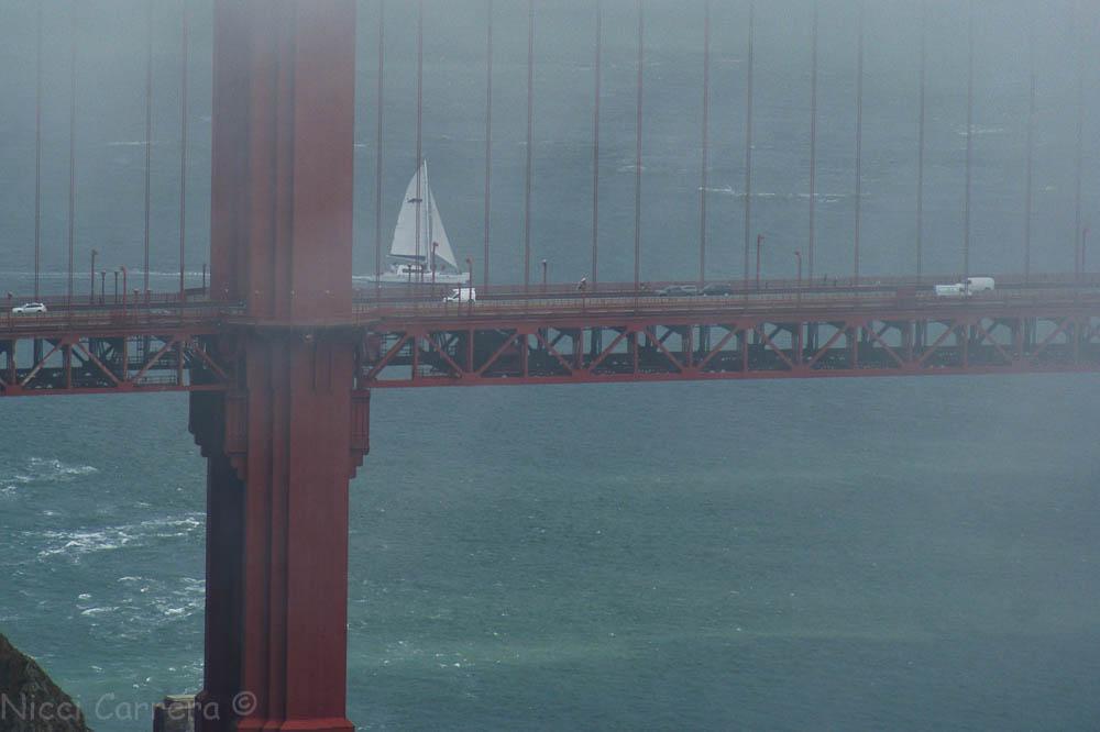 Sailing over the bridge to work