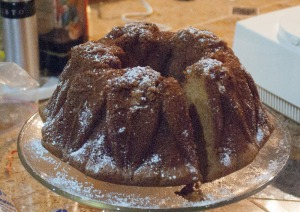 Pumpkin bundt cake results, little wedge missing